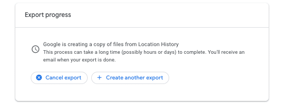 screenshot of the Export progress dialogue box in Google Takeout
