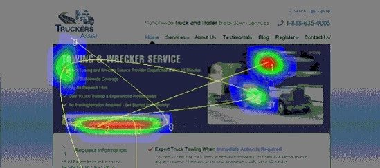screenshot of the heatmap of the web-page when the distracting element has been removed