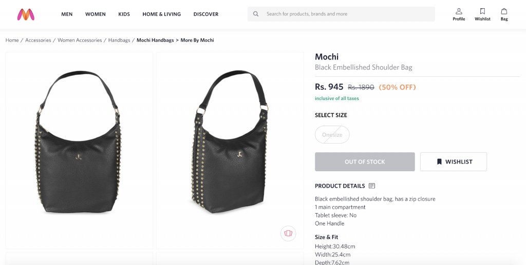 screenshot of the product listing on Myntra.com