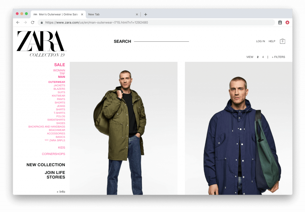 an example of Zara using extra-large images on their product category pages