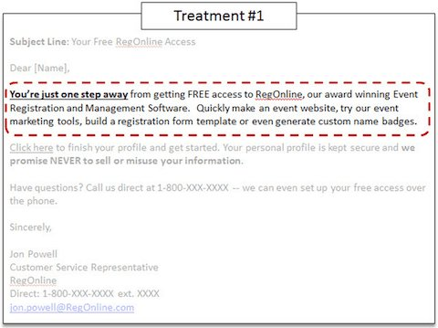 screenshot of the sales version of the email template copy