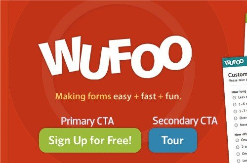 screenshot of the CTA on Wufoo.com