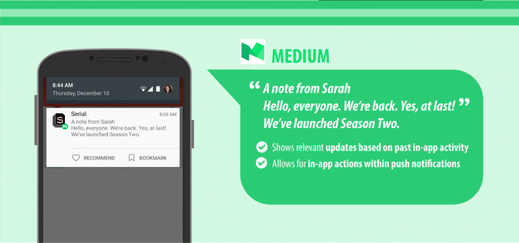 image of how medium.com uses personalized push notifications to target customers