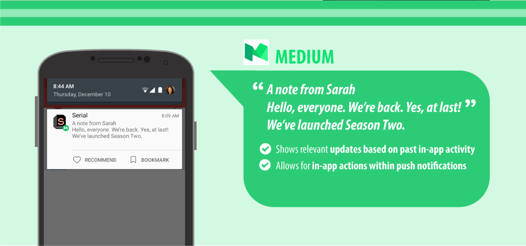 how medium.com uses personalized push notifications to target customers
