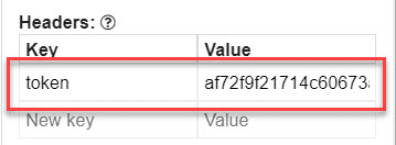 screenshot of the headers section in the API connector tool where you need to enter the token value