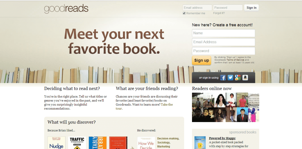 screenshot of goodreads homepage with a simple headline conveying benefit