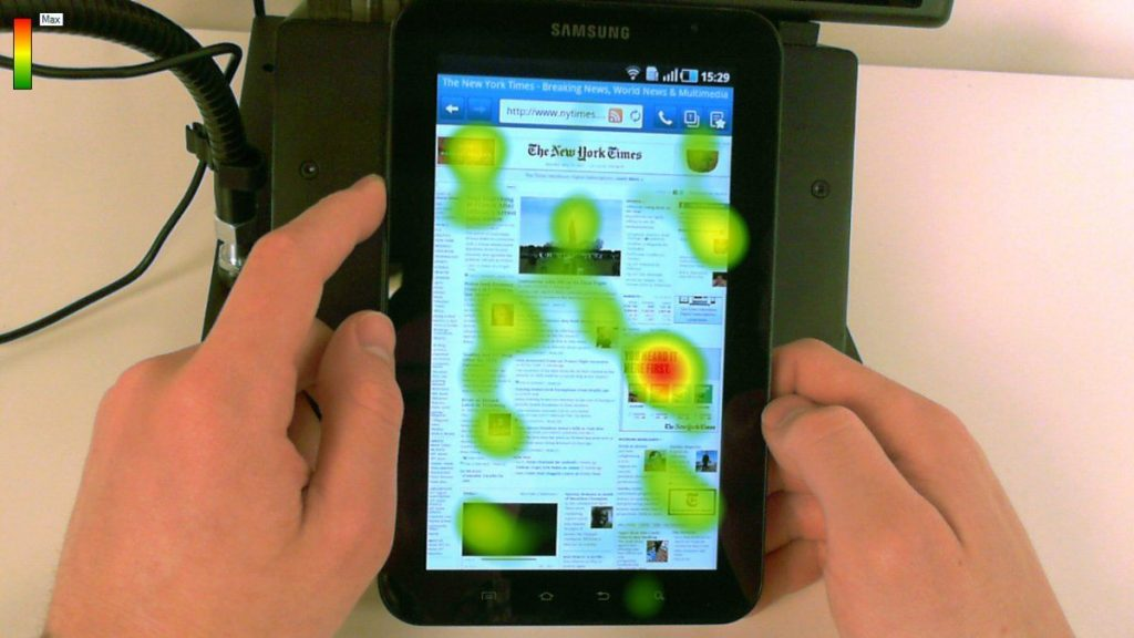 an example of eye-tracking heatmap on the tablet version of a website