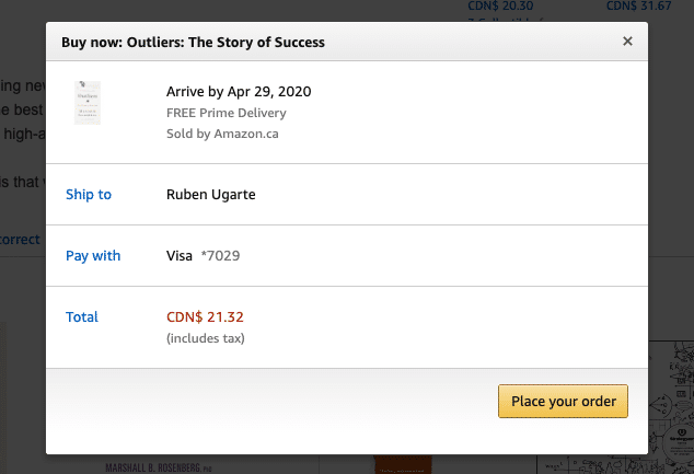 screenshot of Amazon one click checkout
