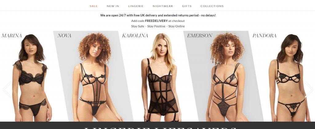 image slider on the homepage of Bluebella