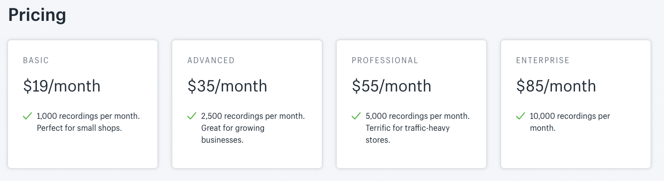 screenshot of the pricing and plans for Hindsight shopify heatmap app