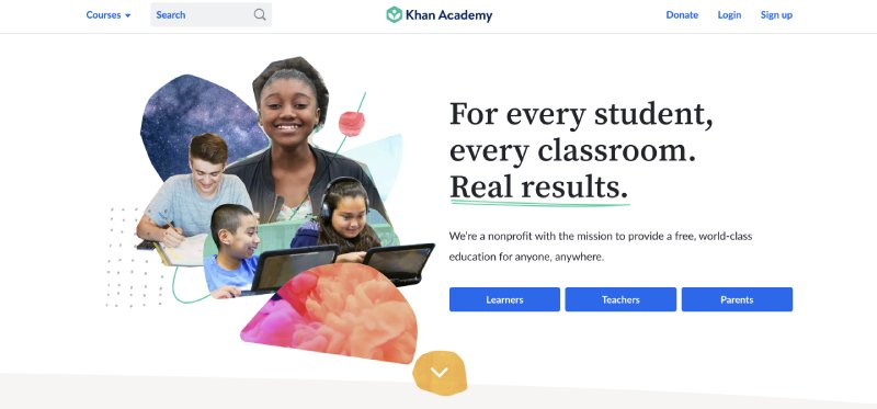screenshot of the website of Khan Academy