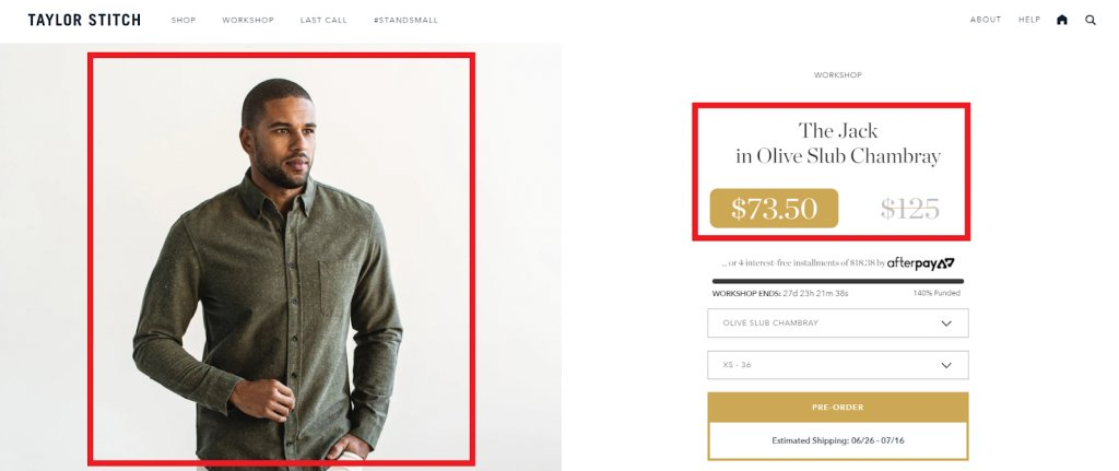 screenshot of the optimized product page on Taylor Stitch website