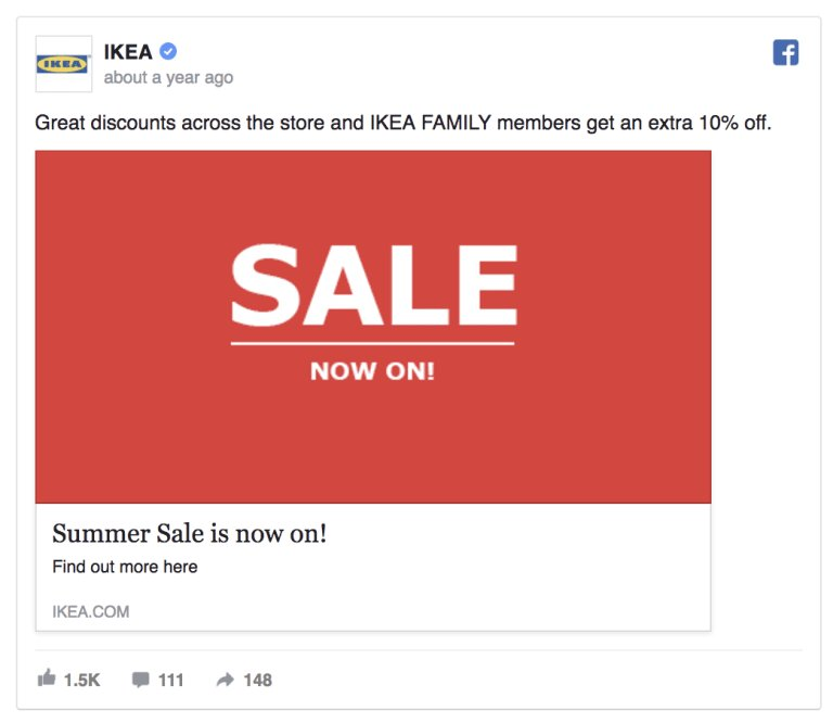 a screenshot of the facebook post shared by IKEA