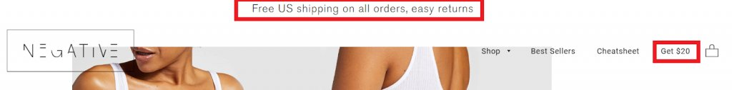 screenshot of the sign up incentives on Negative Underwear website