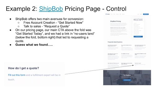 Details Of The Control Version Of The Pricing Page Of Shipbob