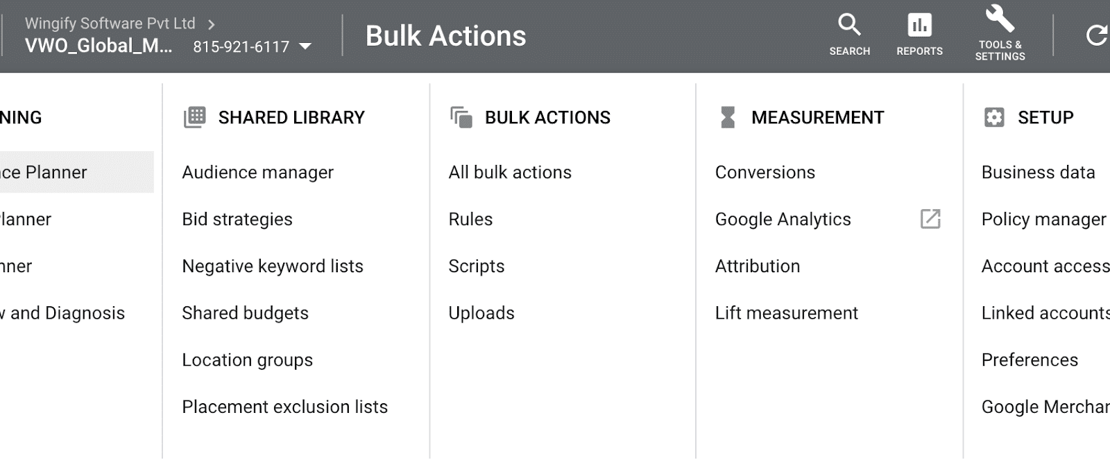 Screenshot Of The Bulk Actions Tab In Google Ads