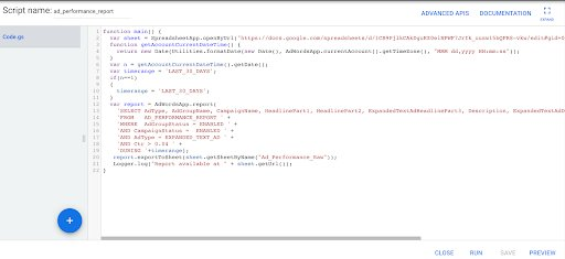 Screenshot Of The Script Implemented In Google Ads