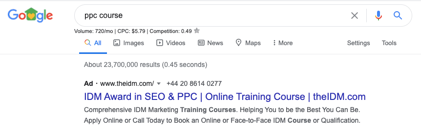 Google Ads Result When Someone Searches ppc Course