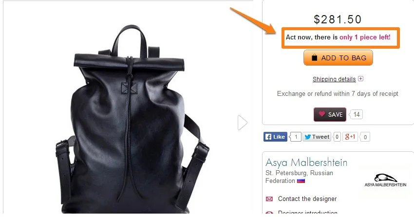Example Of Urgency And Scarcity on ecommerce product page