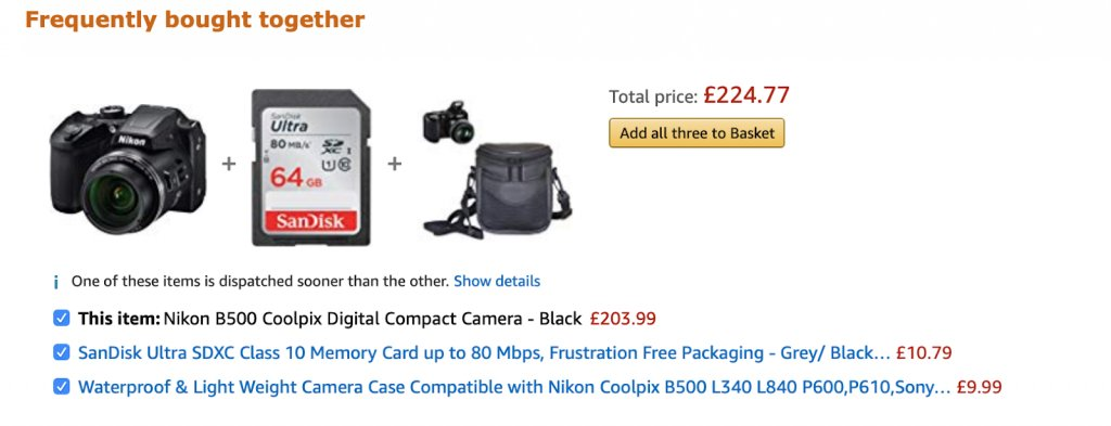 An example of frequently bought together products section on Amazon