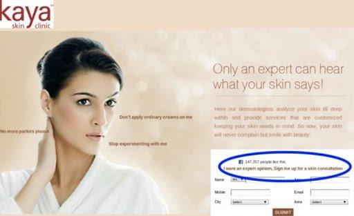 Landing Page For Kaya Skin Clinic