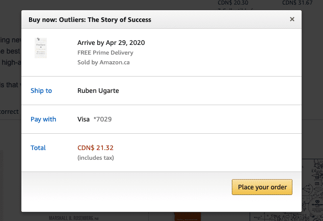 one click checkout on Amazon