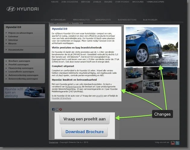 Variation Of The Multivariate Test On Hyundais Car Landing Pages