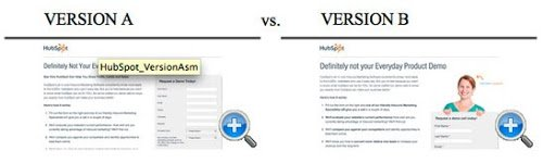 version a vs version b of Hubpost landing pages