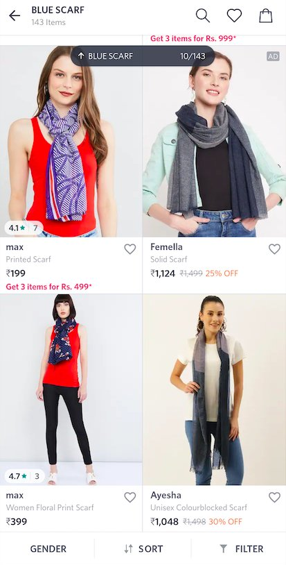Myntra Product Page search algorithm