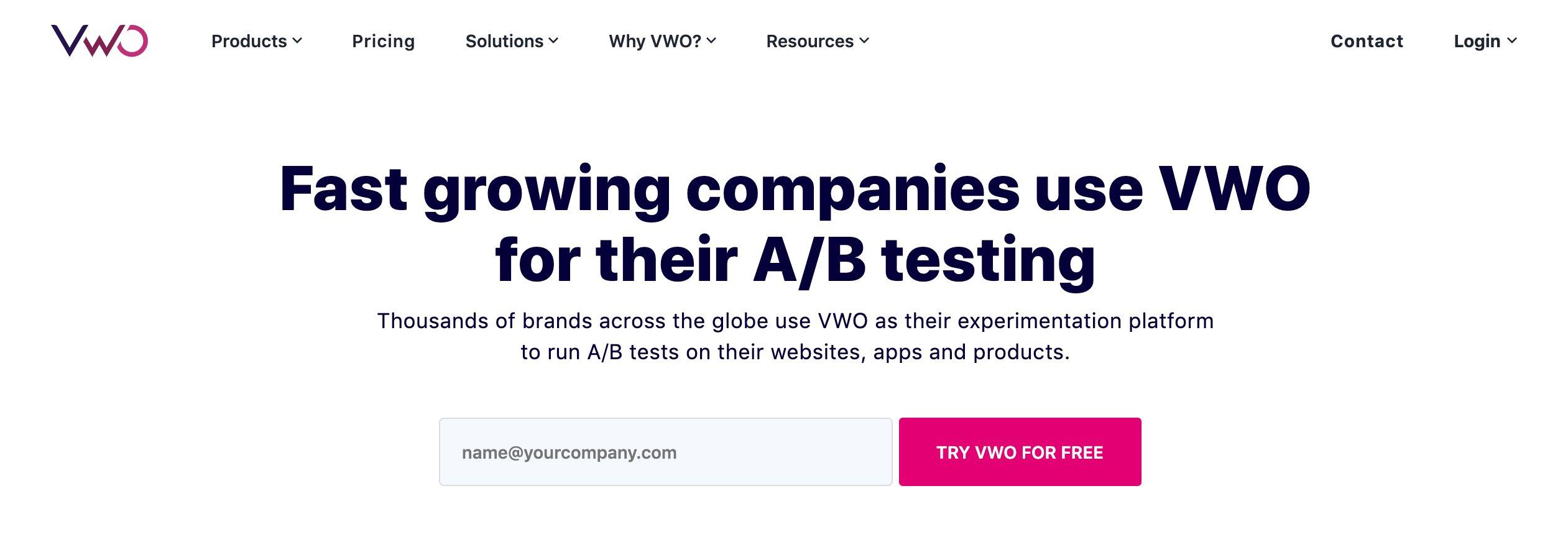 Vwo Homepage Cta