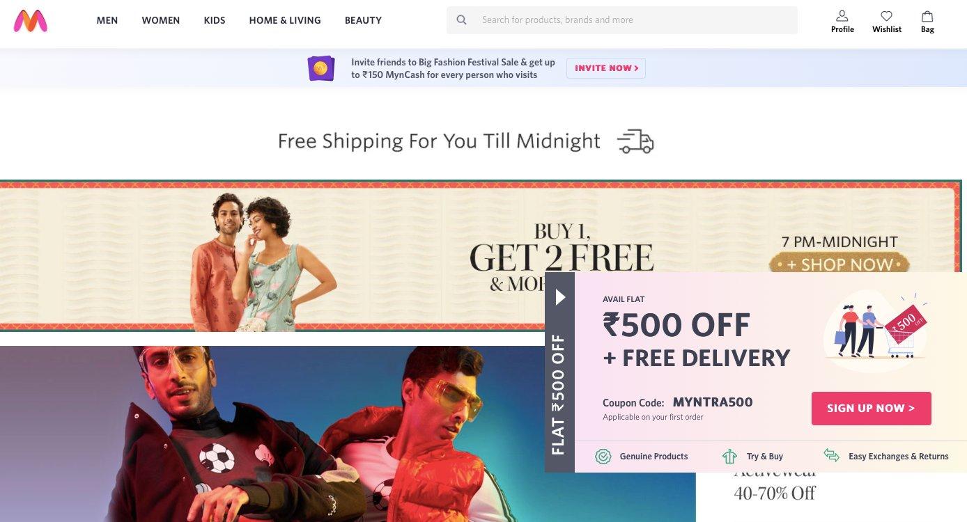 myntra offering discounts
