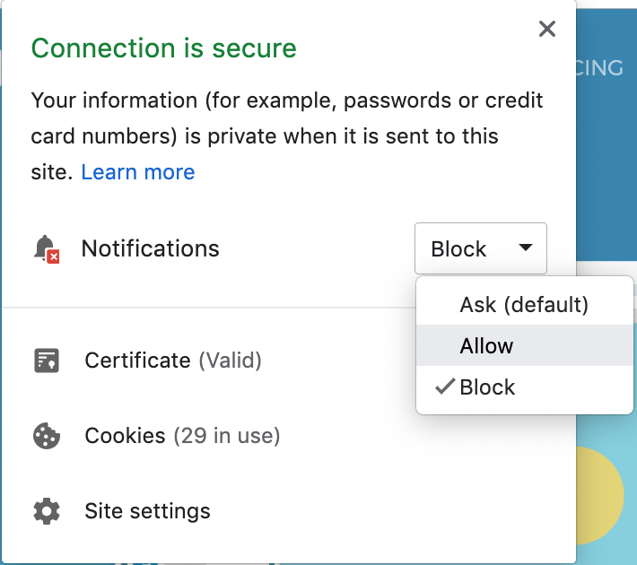 where to enable or disable push notifications on chrome browser