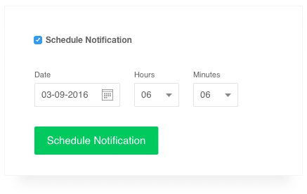 screenshot of the schedule push notifications feature