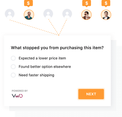 on-page surveys capability in VWO Insights