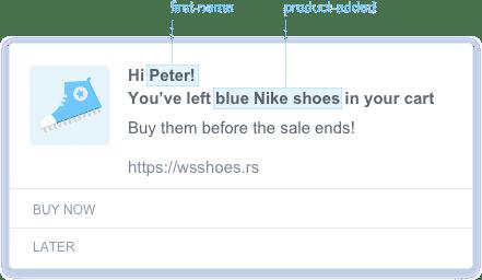 a screenshot of personalized push notification