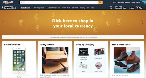 amazon's personalized ecommerce store.