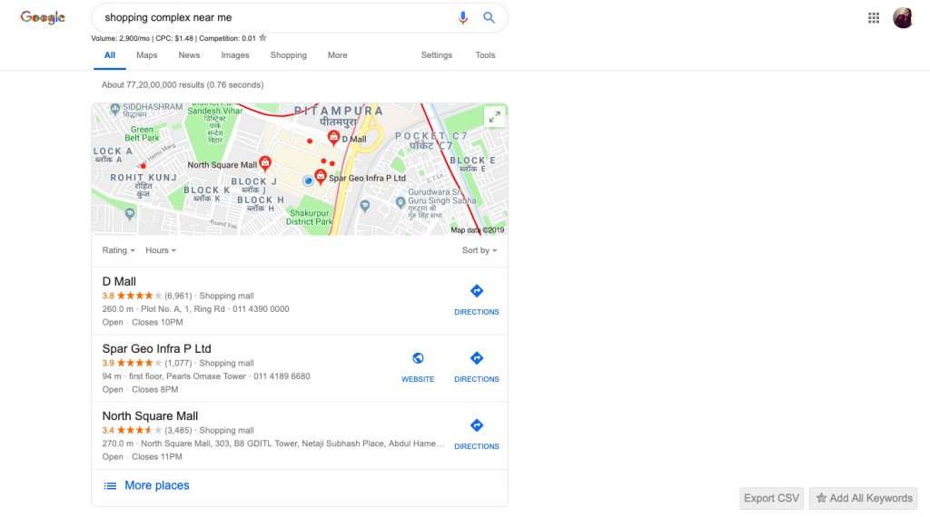 personalized search results related to shopping on Google