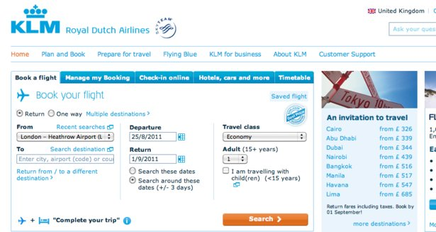 Book a flight on KLM's website