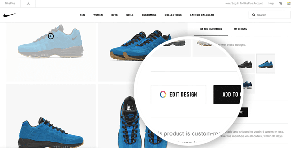 customization option on Nike ecommerce store