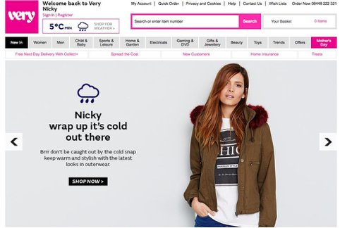 personalization on very.co.uk's ecommerce store