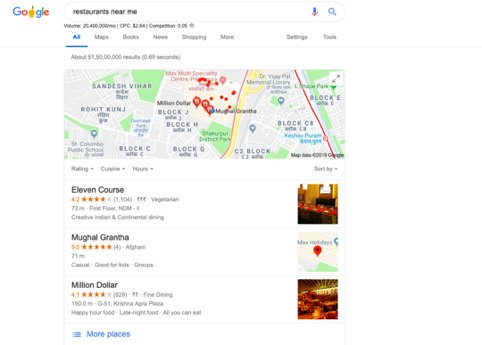 personalized results for Google local search pack