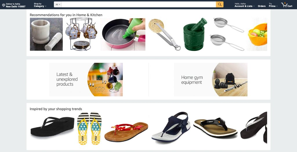 An example of personalization on Amazon.com's home page