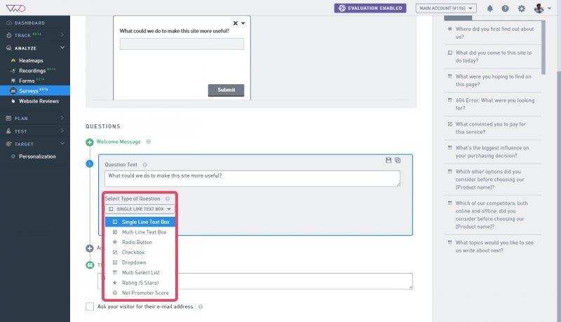 how to add questions to a survey knowledge base