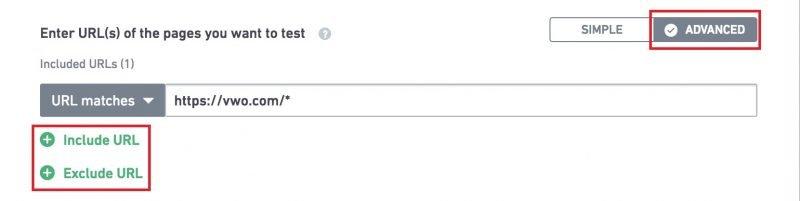 advanced URL settings for AB test