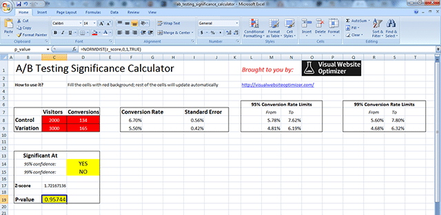 A/B testing significance calculator [downloadable excel]