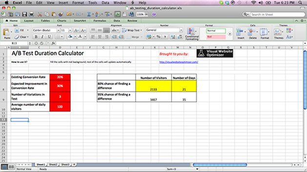 A/B test duration calculator (Excel spreadsheet) - Blog