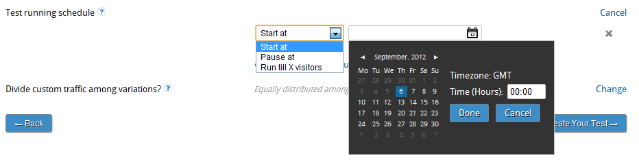 Automatically setup tests to start or stop at a future date and time
