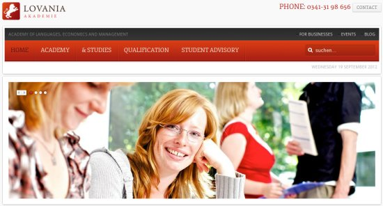home page for the Lovania Akademi's website