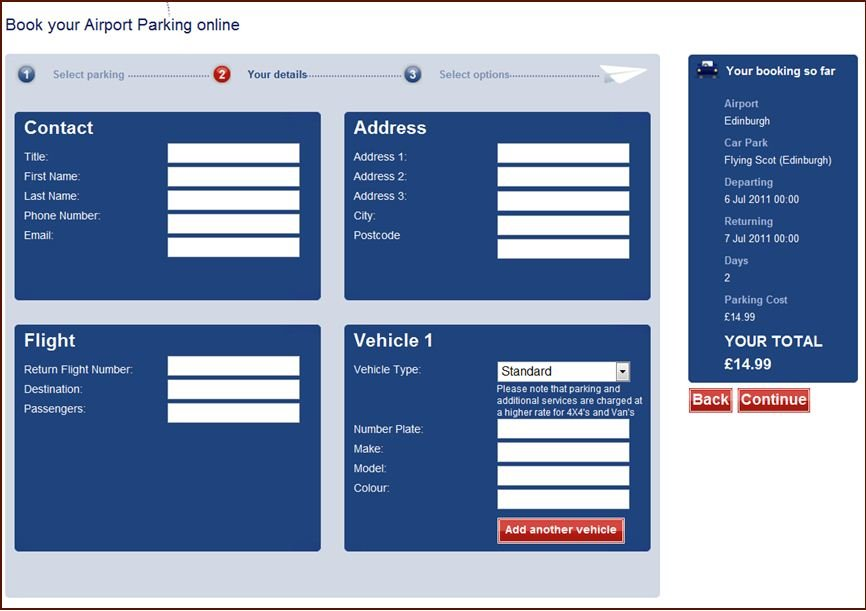 Flying Scot Booking Page - Control