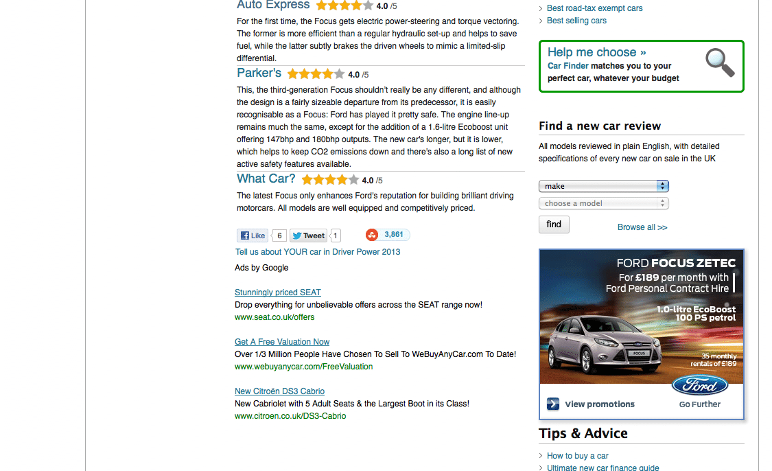 screenshot of CarBuyer.co.uk